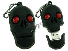 Флешка Uniq USB 2.0 ЧЕРЕП черн., красн. глаза, разборная, противоударн. Резина 4GB (04C14985U2)