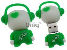 Флешка Uniq USB 2.0 DJ MUSIC FLASH белый / зеленый Резина 4GB (04C14994U2)