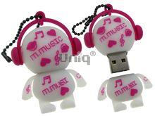 Флешка Uniq USB 2.0 DJ MUSIC M белый / малиновый Резина 4GB (04C14998U2)