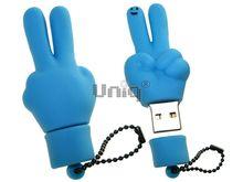 Флешка Uniq USB 2.0 ПАЛЬЦЫ HI ! голуб. водонепрониц. Резина 4GB (04C17004U2)