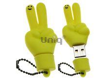 Флешка Uniq USB 2.0 ПАЛЬЦЫ HI ! желт. водонепрониц. Резина 4GB (04C17007U2)