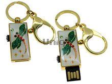 Флешка Uniq USB 2.0 ШАМАХАНСКАЯ ЦАРИЦА Изумрудная Стрекоза золото / белый [металл, эмаль] 4GB (04C17034U2)