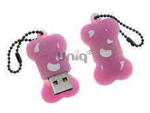 Флешка Uniq USB 2.0 КОСТОЧКА розовая Flash USB водонепрониц. Резина 4GB (04C17073U2)
