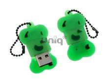 Флешка Uniq USB 2.0 КОСТОЧКА зеленая Flash USB водонепрониц. Резина 4GB (04C17074U2)