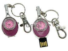 Флешка Uniq USB 2.0 ЧАСЫ Теннисная Ракетка розовый [металл, эмаль, камни] 4GB (04C17150U2)