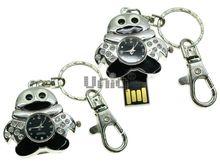 Флешка Uniq USB 2.0 ЧАСЫ Пингвин черный [металл, камни] 4GB (04C17152U2)