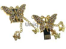 Флешка Uniq USB 2.0 БАБОЧКА Махаон Золотая 4GB (04C17168U2)