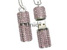 Флешка Uniq USB 2.0 ПОМАДА ХРУСТАЛЬНАЯ серебро / розовый [камни] 4GB (04C17213U2)
