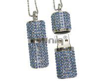 Флешка Uniq USB 2.0 ПОМАДА ХРУСТАЛЬНАЯ серебро / голубой [камни] 4GB (04C17214U2)
