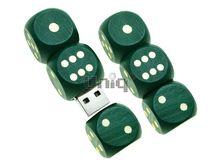 Флешка Uniq USB 2.0 НАТУР ДЕРЕВО Игральные Кости Трио магнит зеленые 4GB (04C17319U2)