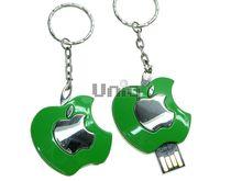 Флешка Uniq USB 2.0 ПЛОДЫ ФРУКТЫ Apple Logol серебро / зеленый [металл] 4GB (04C17369U2)
