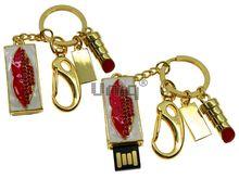 Флешка Uniq USB 2.0 ШАМАХАНСКАЯ ЦАРИЦА Поцелуй красный золото [металл, белая эмаль, камни] 4GB (04C17390U2)