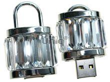 Флешка Uniq USB 2.0 ЗАМОК Хрустальный Серебро / Белый 4GB (04C17394U2)