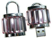 Флешка Uniq USB 2.0 ЗАМОК Хрустальный Серебро / Розовый 4GB (04C17395U2)