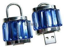 Флешка Uniq USB 2.0 ЗАМОК Хрустальный Серебро / Синий 4GB (04C17396U2)
