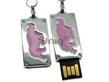 Флешка Uniq USB 2.0 ПАННО Сталь Носорог Розовый 4GB (04C17436U2)