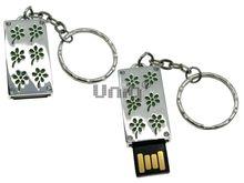 Флешка Uniq USB 2.0 ПАННО Сталь Ромашки Зеленые 4GB (04C17454U2)