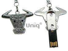 Флешка Uniq USB 2.0 АНИМАЛ Бык серебро 4GB (04C17463U2)