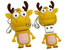 Флешка Uniq USB 2.0 ОЛЕНЬ желтый Резина 4GB (04C17489U2)