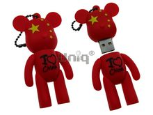 Флешка Uniq USB 2.0 Bearbrick I LOVE CHINA красный Резина 4GB (04C17562U2)