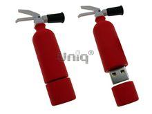 Флешка Uniq USB 2.0 ОГНЕТУШИТЕЛЬ с раструбом противоударн, водонепрониц. красный 12гр. Резина 4GB (04C17575U2)