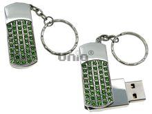 Флешка Uniq USB 2.0 СИЯНИЕ ЗВЁЗД серебро, зеленые камни 51кам U-812 42гр 45х19х10мм+цепь Водонепр. 4GB (04C17850U2)