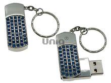 Флешка Uniq USB 2.0 СИЯНИЕ ЗВЁЗД серебро, синие камни 51кам U-812 42гр 45х19х10мм+цепь Водонепр. 4GB (04C17851U2)