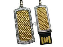 Флешка Uniq USB 2.0 MINI Золотые Грани янтарный / серебро [металл] 4GB (04C17886U2)