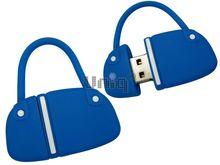 Флешка Uniq USB 2.0 СУМОЧКА дамская темно / голубая Flash USB40х25мм, 12гр, водонепрониц. Резина 4GB (04C17887U2)