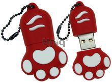 Флешка Uniq USB 2.0 ЛАПА КОШКИ разборн.,водонепрониц.красный / белый Резина 4GB (04C17908U2)