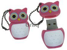 Флешка Uniq USB 2.0 СОВА розовый синие глаза Резина 4GB (04C17920U2)