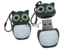 Флешка Uniq USB 2.0 СОВА серый синие глаза Резина 4GB (04C17925U2)