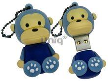 Флешка Uniq USB 2.0 ОБЕЗЬЯНКА сидящая, голуб. брелок разборная, противоударн. Резина 4GB (04C17973U2)