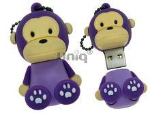 Флешка Uniq USB 2.0 ОБЕЗЬЯНКА сидящая, фиолетовая, брелок разборная, противоударн. Резина 4GB (04C17974U2)