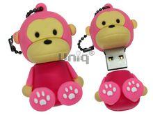 Флешка Uniq USB 2.0 ОБЕЗЬЯНКА сидящая, розовая, брелок разборная, противоударн. Резина 4GB (04C17975U2)