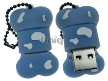 Флешка Uniq USB 2.0 КОСТОЧКА голубая Flash USB водонепрониц. Резина 4GB (04C17983U2)