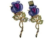 Флешка Uniq USB 2.0 БРОШЬ Роза Цветущая Золото / Фиолетовый 4GB (04C21065U2)
