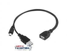 Кабель Megag Mini USB M (папа) + USB AM (папа) - USB AF (мама) USB 2.0 (5 пин)  USB OTG (для флешки) 0.3m Black OEM