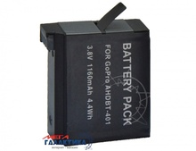Аккумулятор для GoPro Hero4 Megag для AHDBT-401 3.8V 1160mAh  Black OEM