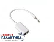 Кабель Megag Jack 3.5mm M (папа) -  2 x Jack 3.5mm F (мама) (4 пин) bending (Гибкий) 0.10m   White