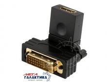Переходник Megag HDMI F (мама) - DVI M (папа) (24+1 пин)    Угловой 360°  Black