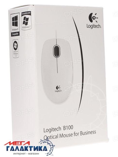 Мышка Logitech  B100 (910-003360) USB  800 dpi  White Gray  Фото товара №2