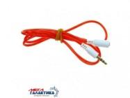 Удлинитель Megag Jack 3.5mm M (папа) - Jack 3.5mm F (мама) (3 пин)  1m  позолоченные коннекторы (удлинитель наушников) Red