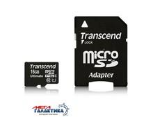Карта памяти Transcend micro SDHC 16GB (TS16GUSDHC10U1) +адаптер sd