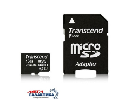 Карта памяти Transcend micro SDHC 16GB UHS-1 (U1) (TS16GUSDHC10U1) +адаптер sd, R90/W10MB/s