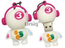 Флешка Uniq USB 2.0 DJ MUSIC 3 белый / малиновый Резина 4GB (04C35020U2)