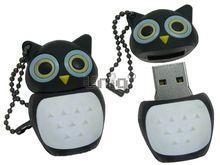 Флешка Uniq USB 2.0 СОВА черный синие глаза Резина 4GB (04C35033U2)