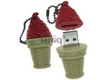 Флешка Uniq USB 2.0 ЭСКИМО стаканчик, вишневое Резина 4GB (04C35066U2)