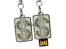 Флешка Uniq USB 2.0 ПАННО Сталь Доллар символ, зеленый [металл, камни ] 4GB (04C35101U2)