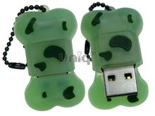Флешка Uniq USB 2.0 КОСТОЧКА салатовая Flash USB водонепрониц. Резина 4GB (04C35117U2)